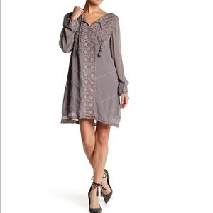 Calypso Kylea Grey Silk Dress Beaded Design